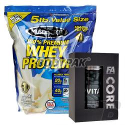 MuscleTech 100% Premium Whey Protein PLUS - 2270g + FA VitaCORE - 120 kaps. [02.2016] GRATIS