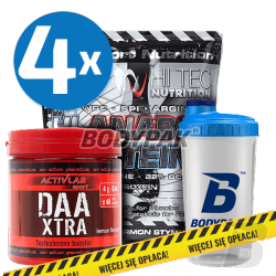 Hi Tec Hi-Anabol Protein - 4x 1kg + BODYPAK Shaker TRANSPARENT - 700ml + Activlab DAA Xtra - 240g