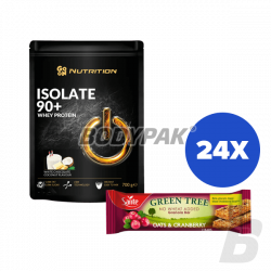 GO ON! Nutrition Isolate 90+ Whey Protein - 700g + Sante Green Tree Baton Owsiany z Żurawiną - 24 x 40g [GRATIS]