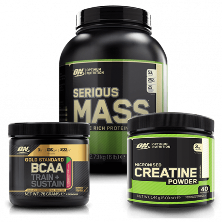 Optimum Nutrition Serious Mass - 2730 g + Micronised Creatine - 144 g + BCAA Train + Sustain - 76 g